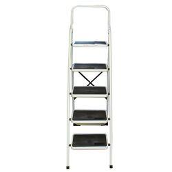 Σκαλοσκαμπό Μεταλλικό 48x92x158cm με 5 Σκαλιά MAX Αντοχή 150kg Βάρος 10.2kg PLUS Λευκό LY305