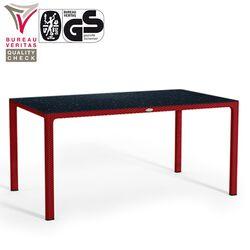 LECHUZA Ορθογώνιο Τραπέζι 160x90x75cm Πλαστικό με HPL Επιφάνεια Τραπεζιού Βάρος 38kg Ρυθμιζόμενο Ύψος Κόκκινο Rattan Γερμανίας Πιστοποιήσεις Bureau Veritas/Gs
