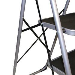 Σκαλοσκαμπό Μεταλλικό 46.5x92x138cm με 4 Σκαλιά MAX Αντοχή Βάρους 150kg Βάρος 8.7kg DELUXE Ασημί