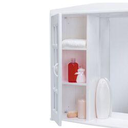 Ερμάριο Μπάνιου 86x16.5x65cm με Καθρέπτη 4 Ράφια-6 Αποθηκευτικοί Χώροι 7.8kg Λευκό