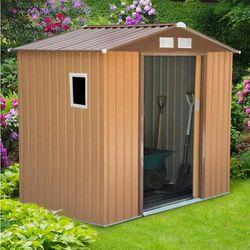 Μεταλλική Αποθήκη Κήπου - Σπιτάκι Κήπου 213x127x205cm (7'x4,2') 5.50m3 Γαλβανιζέ με Παράθυρο Archer Plus A Καφέ LILYSHED