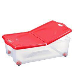 BAMA ITALY Κουτί Αποθήκευσης 59x39x18cm 27lt με Περιστρεφόμενες Ρόδες 360ᵒ Πλαστικό Διάφανο-Κόκκινο CONTENITORE ROTOBOX