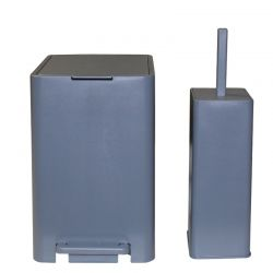 Σετ Κάδος Μπάνιου με Πεντάλ 13.5lt με Εσωτερικό Κάδο 7lt και Πιγκάλ Πλαστικό SOFT CLOSE Γκρι Τιτανίου Ελλάδας