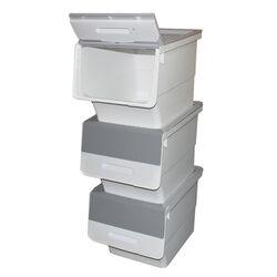 Κουτί Αποθήκευσης Πολυχρηστικό Τριπλό 99lt 35x45x96cm Πλαστικό Με Ρόδες 4.48kg Γκρί-Λευκό