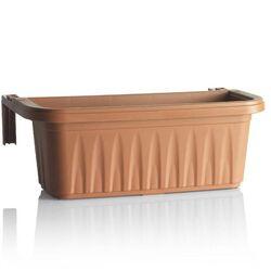 BAMA ITALY Ζαρντινιέρα Κρεμαστή 80x20x18.5cm 18lt με Ρυθμιζόμενους Βραχίονες και Σύστημα Αποστράγγισης 1.3kg Κεραμιδί RONDINE