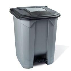 Κάδος Απορριμάτων 50lt 43x41x56cm Πλαστικός 3.8kg με Εσωτερικό Κάδο 36x29x47.5cm + Πεντάλ + Ρόδες + Μικρό Ανοιγόμενο Καπάκι Γκρι - Μαύρο