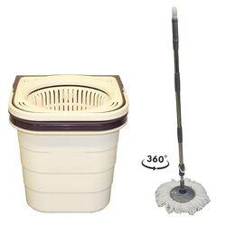 SPIN MOP DUO Διπλός Κουβάς Σφουγγαρίσματος Πτυσσόμενος 19lt 49x26x26cm 2.29kg + Πτυσσόμενο Κοντάρι και Περιστρεφόμενο Σύστημα Στράγγισης 360° Μπεζ-Σκούρο Μωβ