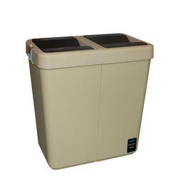 Κάδος Απορριμάτων Διπλός 80lt 54x34x57cm Πλαστικός Επαγγελματικός/Οικιακός  Με Παλλόμενο Άνοιγμα 3.7kg Μπεζ