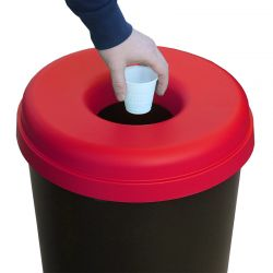 Κάδος Ανακύκλωσης 60lt Ø41x62.5cm 1.91kg Πλαστικός με Άνοιγμα Ø14cm στο Καπάκι Μαύρο-Κόκκινο Ελλάδας