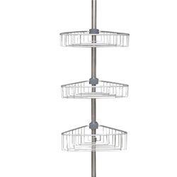 Εταζέρα Μπάνιου Γωνία Αλουμινίου 246-270cm με 3 Ράφια Ρυθμιζόμενο Ύψος ΧΩΡΙΣ ΕΡΓΑΛΕΙΑ