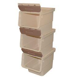 Κουτί Αποθήκευσης Πολυχρηστικό Τριπλό 36lt 26x31x71cm Πλαστικό Με Ρόδες 2.41kg Μπεζ-Μόκα