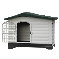 Σπίτι Σκύλου XLARGE 111x83.8x80.4cm με Πορτάκι Ασφαλείας και Ανοιγόμενη Πλευρά 15.6kg Λευκό Πάγου-Γκρί VESTA