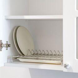 TEKNO-TEL Πιατοθήκη Στεγνωτήρι Ντουλαπιού 33x23x6cm  Επιχρωμιωμένο Ατσάλι 12 Θέσεις Πιάτων με Δίσκο
