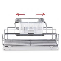 TEKNO-TEL Πιατοθήκη Στεγνωτήριο Αποσπώμενο-Συρόμενο INOX (Ανοξείδωτο Ατσάλι) 48x33x25cm 2όροφο Βάρος 2.17kg 10 Θέσεις Πιάτων με Θήκη και Δίσκο