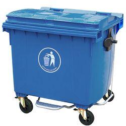Κάδος Απορριμάτων 1100lt Επαγγελματικός 136x106x137cm Πλαστικός 55.5kg με Ρόδες 360ᵒ + Μεταλλικό Πεντάλ Μπλε
