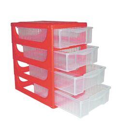 Συρταριέρα Πλαστική Mini 17x25x27cm Γραφείου Κόκκινη με Διάφανα Συρτάρια BAMA Ιταλίας