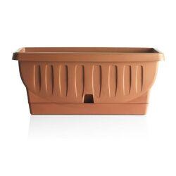 BAMA ITALY Ζαρντινιέρα Υψηλής Αντοχής 80x38.5x35cm 90lt με Αυτοποτιζόμενο Πιάτο 2.8kg Πλαστική Κεραμιδί NATURA