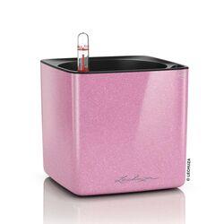LECHUZA CUBE Glossy Kiss 14 Επιτραπέζια Γλάστρα 14x14x14cm Αυτοποτιζόμενη με Εσωτερικό Δοχείο SWEET CANDY Glitter Γερμανίας
