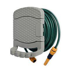 TOOMAX FASHION ITALY Βάση Λάστιχου + Λάστιχο 15 Μέτρα 29x20x37cm Πλαστική με Αποθηκευτικό Χώρο RATTAN STYLE TUBO PLUS Γκρι