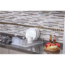 TEKNO-TEL Πιατοθήκη-Στεγνωτήριο Πιάτων Επιχρωμιωμένο Ατσάλι 48x33x12cm Βάρος 1.40kg 14 Θέσεις Πιάτων με Πλαστική Κουταλοθήκη και Δίσκο