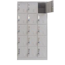 VESTA Μεταλλική Ντουλάπα - Φοριαμός (Locker) 90x45x180cm 15 Ντουλάπια Πάχος 0.6mm με Ρυθμιζόμενα Πόδια 54kg Γκρι Ανοιχτό ΧΩΡΙΣ ΠΟΔΙΑ