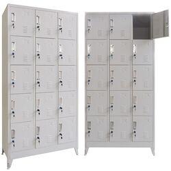 VESTA Μεταλλική Ντουλάπα - Φοριαμός (Locker) 90x45x190cm 15 Ντουλάπια Πάχος 0.6mm με Ρυθμιζόμενα Πόδια 54kg Γκρι Ανοιχτό