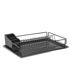 TEKNO-TEL Πιατοθήκη-Στεγνωτήριο Πιάτων Ανοξείδωτο Ατσάλι (INOX) 48x33x12cm Βάρος 1.40kg 14 Θέσεις Πιάτων με Πλαστική Κουταλοθήκη και Δίσκο Μαύρο Matt