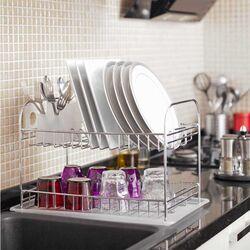 TEKNO-TEL Πιατοθήκη -Στεγνωτήριο Πιάτων 2όροφο Επιχρωμιωμένο Ατσάλι 48x33x32cm 2.6kg 11 Θέσεις Πιατών με Πλαστικό Δίσκο και Κουταλοθήκη