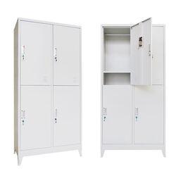 VESTA Μεταλλική Ντουλάπα - Φοριαμός (Locker) 90x45x190cm 4 Θέσεων Πάχος 0.6mm με Ρυθμιζόμενα Πόδια 46kg Γκρι Ανοιχτό