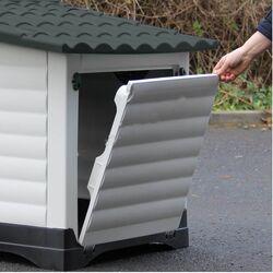 Σπίτι Σκύλου Medium 91.4x68.9x66cm με Πορτάκι Ασφαλείας και Ανοιγόμενη Πλευρά 8kg Λευκό Πάγου-Γκρί VESTA