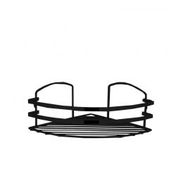 TEKNO-TEL Γωνιακή Ραφιέρα Μπάνιου INOX (Ανοξείδωτο Ατσάλι) 27x19x10cm Βάρος 0.40kg Πάχος Ø5mm Μαύρη