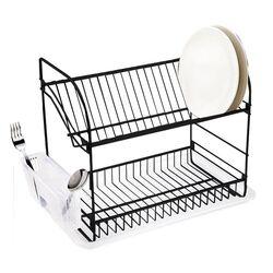 TEKNO-TEL Πιατοθήκη Στεγνωτήριο Πιάτων INOX (Ανοξείδωτο Ατσάλι) 2όροφο 40x23x35cm Βάρος 1.56kg 18 Θέσεις Πιάτων με Θήκη και Δίσκο Μαύρο Matt