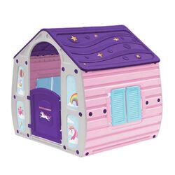 STARPLAY Παιδικό Σπιτάκι Κήπου 102x90x109cm Ροζ-Γκρί με Μωβ Σκεπή UNICORN MAGICAL HOUSE
