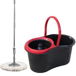 SPIN MOP EKO Κουβάς Σφουγγαρίσματος 46x26x24cm 13lt 1.23kg με Περιστρεφόμενο Σύστημα Σφουγγαρίσματος 360° + Κοντάρι Μαύρο/Κόκκινο