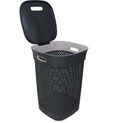 Καλάθι Απλύτων Πλαστικό 50lt 39x39x54cm Τετράγωνο με Σχέδιο Μάλλινου Πλεκτού 1.45kg Ανθρακί DEA HOME ITALY