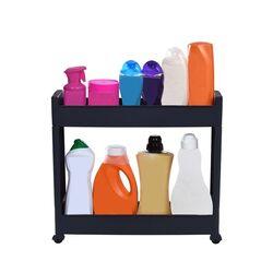 Τρόλεϊ Κουζίνας/Μπάνιου 49.5x14x45cm Πλαστικό 2όροφο με Ρόδες Ανθρακί