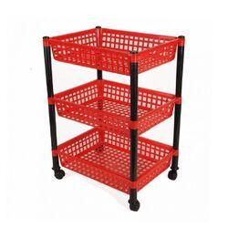 Τρόλεϊ Τροφίμων 39x30x62cm 3όροφο 1.4kg Πλαστικό με Ρόδες Κόκκινο-Μαύρο