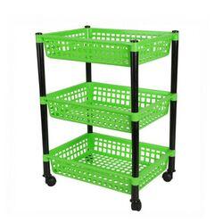 Τρόλεϊ Τροφίμων 39x30x62cm 3όροφο 1.4kg Πλαστικό με Ρόδες Πράσινο-Μαύρο