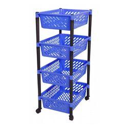 Τρόλεϊ Τροφίμων 40x30x81cm 4όροφο 1.5kg Πλαστικό με Ρόδες Μπλε-Μαύρο