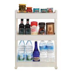 Τρόλεϊ Κουζίνας/Μπάνιου 49.5x14x80cm Πλαστικό 3όροφο με Ρόδες Λευκό