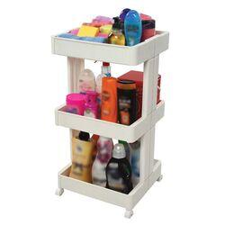 Πολυχρηστικό Τρόλεϊ Κουζίνας / Μπάνιου 39.5x37x75cm 3όροφο Πλαστικό με Ρόδες 360° Λευκό