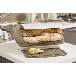 BAMA ITALY Ψωμιέρα Πλαστική 41x28x19cm με Πλαστική Επιφάνεια Κοπής Γκρι Καφέ (Taupe)-Μπεζ