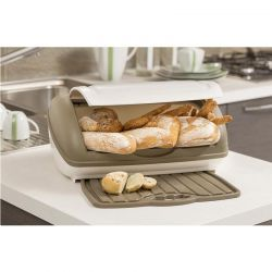 BAMA ITALY Ψωμιέρα Πλαστική 41x28x19cm με Πλαστική Επιφάνεια Κοπής Μπορντό-Μπεζ