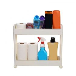Τρόλεϊ Κουζίνας/Μπάνιου 49.5x14x45cm Πλαστικό 2όροφο με Ρόδες Λευκό