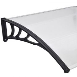 VESTA Στέγαστρο Πόρτας/Παραθύρου 200x100cm Πλαστικό ABS Αλουμίνιο Πάχους 1mm Πολυκαρμπονικό Πάνελ Πάχους 5mm 5.86kg Ανθρακί-Διάφανο