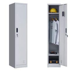 VESTA Μεταλλική Ντουλάπα-Φοριαμός (Locker) 38x45x181cm Μονόφυλλη 23.5kg Ανοικτό Γκρι 2 Ράφια- 3 Αποθηκευτικοί Χώροι ΧΩΡΙΣ ΠΟΔΙΑ