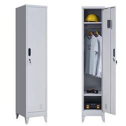 VESTA Μεταλλική Ντουλάπα-Φοριαμός (Locker) 38x45x191cm Μονόφυλλη 23.5kg Ανοικτό Γκρι 2 Ράφια- 3 Αποθηκευτικοί Χώροι 4 Ρυθμιζόμενα Πόδια