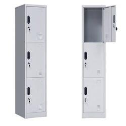 VESTA Μεταλλική Ντουλάπα - Φοριαμός (Locker) 38x45x180cm 3 Αποθηκευτικοί Χώροι 22kg Ανοικτό Γκρι ΧΩΡΙΣ ΠΟΔΙΑ