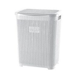 Καλάθι Απλύτων Πλαστικό 45lt 40x34x48cm με Σχέδιο Πλεκτού 1.36kg Λευκό