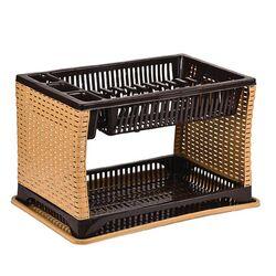 Πιατοθήκη Στεγνωτήρι Πιάτων 45x30x28cm Πλαστικό 2όροφο 12 Θέσεις Πιάτων 0.88kg Rattan Καφέ Σκούρο-Τικ